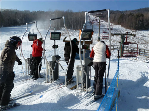 Skiers using RFID Ski Passes