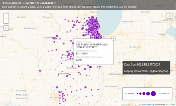 Map of Illinois public libraries with map markers sized proportionate to revenue per capita