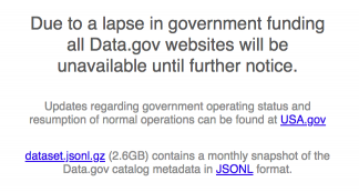 "screenshot of the data.gov website bearing a large heading ""Due to a lapse in government funding, all Data.gov websites will be unavailable until further notice."""