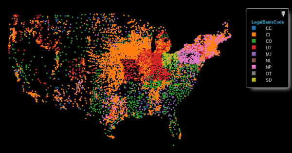 map of US library entities colored by Legal Basis Code